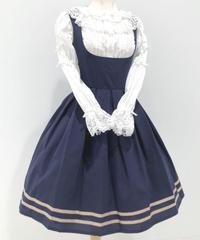 Innocent World White/コルセット裾ラインジャンパースカート(ネイビー×カフェオレ)
