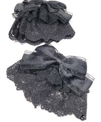 ATELIER-PIERROT/薔薇リボンレースお袖とめ 〈ブラック〉