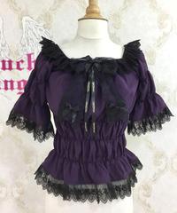 Triple* fortune /リボン付きシャーリングブラウス(紫)