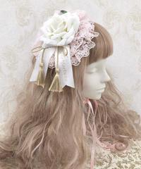 Triple* fortune / 丸型ヘッドドレス(ピンクレース×白薔薇)