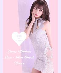 【XSサイズあり】ラメリボン×レースグレンチェックドレス(fm2169)