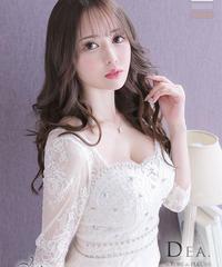 【Lサイズあり】フラワーレース×ロングスリーブタイトミニドレス(DE2365)