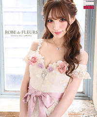 【XS~Lサイズあり】立体フラワーモチーフ×オフショルタイトドレス【リボンベルト付】(fm1778)