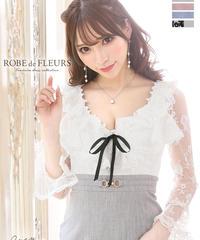 【XSサイズあり】刺繍チュールレース×ロングスリーブタイトミニドレス(fm1791)