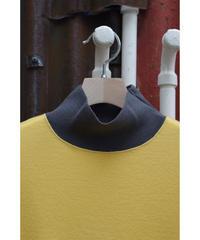 14Gウールスムースハイネックセーター / Yellow x Charcoal