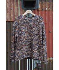 print dye yarn crewneck Pullover / brown mix