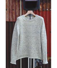 print dye yarn crewneck Pullover / ivory mix