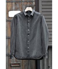 裏絹紬表綿高密度シャツ/  炭
