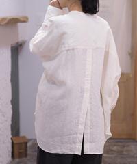 UNIVERSAL TISSU/トリプルワッシャーリネンバンドカラーシャツ/UT213SH020