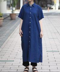 GALERIE TISSU/インディコリネンワークシャツドレス/GT202OP026