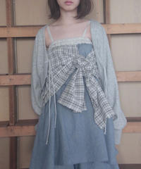 3tsui/2way check skirt(blue)