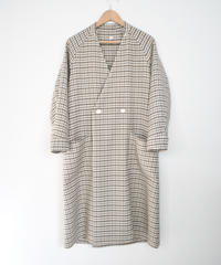 ASEEDONCLOUD/Collarless Coat(Mogamibana check・off white)