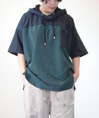 Hiroyuki Watanabe/ストライプパジャマパーカー(green×navy)