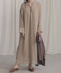 piping long relax dress BEIGE