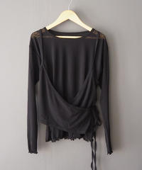 sheer layered top BLACK