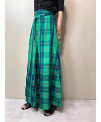 Bright green tartan check maxi skirt-2012-7