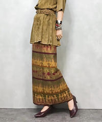 Ethnic goid winding skirt-558-9