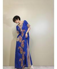 Impact paisley ethnic long blue dress-1179-6