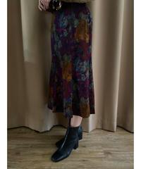 Vintage flower design deep color skirt-2081-7