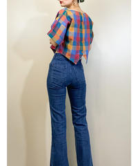 Colorful check rétro cropped tops-1993-6