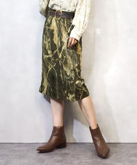 Khaki artistic painting skirt-977-3