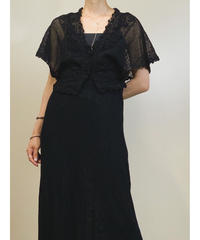 Key knitting black short cardigan-1198-6