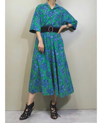 qrape CO.LTD. green cotton long dress-1297-7