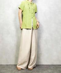Metal beads design cotton shirt-459-8
