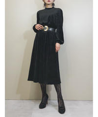 Bellesseer velor fabric black dress-1623-1