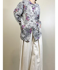 SAKIZO JAPAN purple flower stand up collar shirt-1703-2
