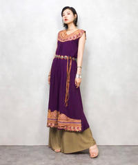 Exotic embroidery purple dress-470-8