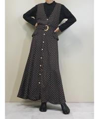 Pearl button design rétro maxi dress-1399-9