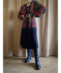 Bright color import docking pleats dress-2118-8