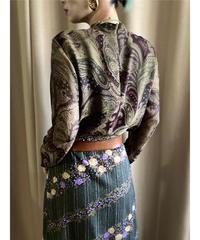 BISTY paisley design sheer high neck tops-2205-10