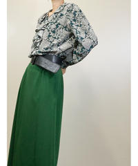 remalon frill collar design green shirt-1425-10