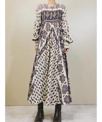 Paisley design flare silhouette vintage dress-1381-9