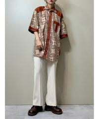 Windmill design brown rétro shirt-2107-8