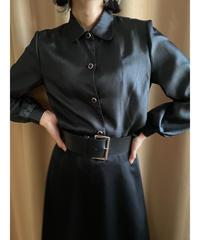 Shiny black rétro plain shirt-2193-9