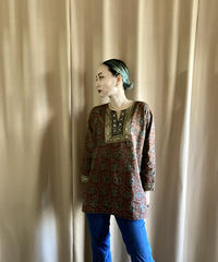 ethnic design embroidery neck import tops-2116-8