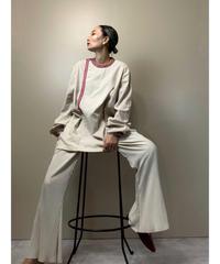 Tyrolean tape neck linen  long shirt-2119-8