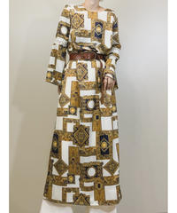 Rekor Scarf pattern vintage long dress-1387-9
