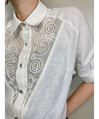Bead decoration natural color linen shirt-1865-5