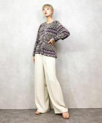 Pale purple refined pleats tops-1027-4