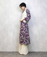 Purple leaf  puttern  long dress-982-3
