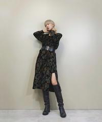 Modern design square collar velours dress-1365-9