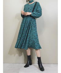 Dull color rétro ribbon dress-1765-3