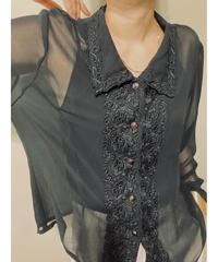 flower embroidery neck design black shirt-2016-7