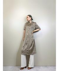Frill neck design vintage color dress-1957-6