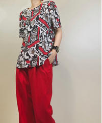 Chalet Blanc red overall pattern rétro tops-1265-7