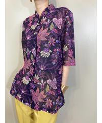 TRUEME exotic flower band collar shirt-1870-5